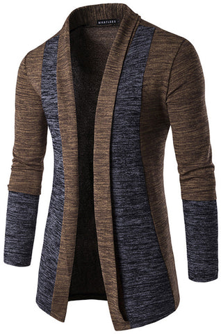 B339 Mens Casual Long Designer Splice Wool Blend Slim Fit Open Outwear Cardigan