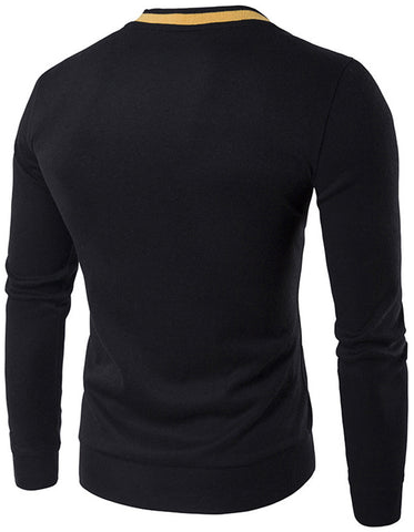 B342 Mens Casual Long Sleeve V-Neck Button Design Solid Wool Blend Slim