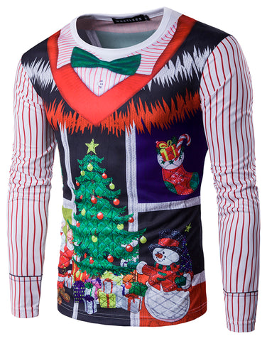 WHATLEES Long Sleeve Crewneck Snow Print T-Shirt Merry Christmas Ugly Sweater Underwear Family Wear B397-13