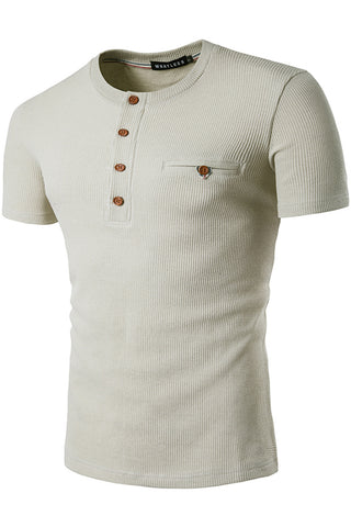B471-Beige Solid Elastic Button Henly Shirt
