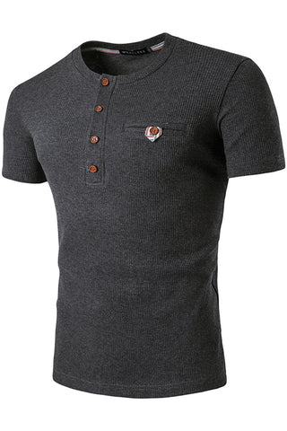 B471-DarkGrey Solid Elastic Button Henly Shirt