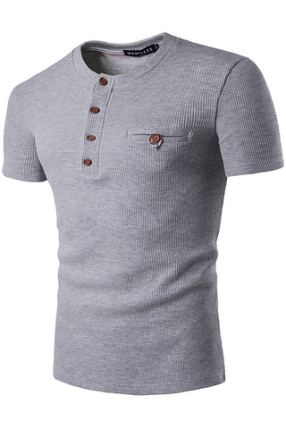 B471-LightGrey Solid Elastic Button Henly Shirt