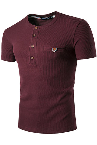 B471-Red Solid Elastic Button Henly Shirt