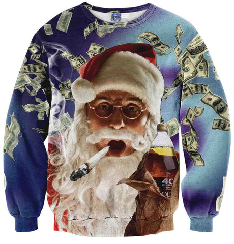 Y1759-W2 Unisex Hipster Long Sleeve Crew Neck Colorful Funny Santa Claus Dollar Money 3D Digital Graphic Christmas Gift New Year Print Pullover Sweatshirts