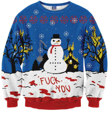 Y1759-W5 Unisex Hipster Long Sleeve Crew Neck Colorful Funny Snowman 3D Digital Graphic Christmas Gift New Year Print Pullover Sweatshirts