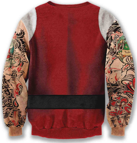 Y1759-W9 Unisex Hipster Long Sleeve Crew Neck Colorful Funny Santa Claus Tattoos 3D Digital Graphic Christmas Gift New Year Print Pullover Sweatshirts