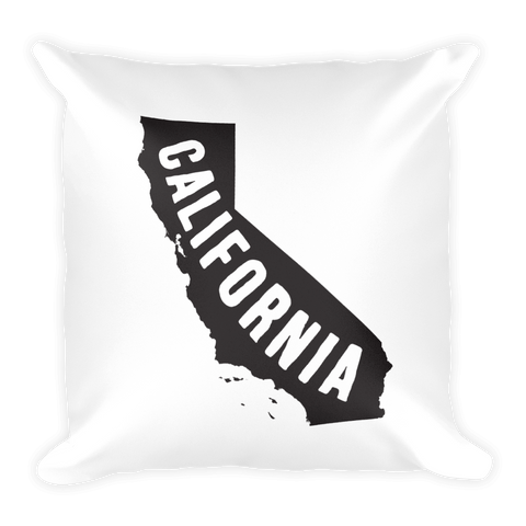 California Typography Map 18x18 Pillow