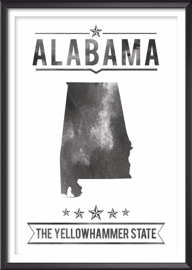 Alabama State Typography Print