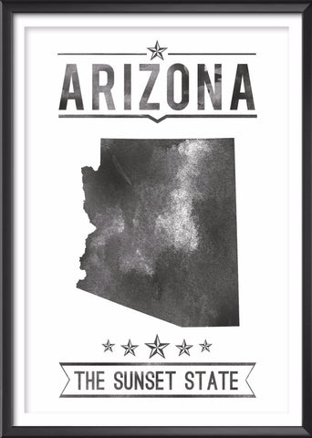 Arizona State Typography Print