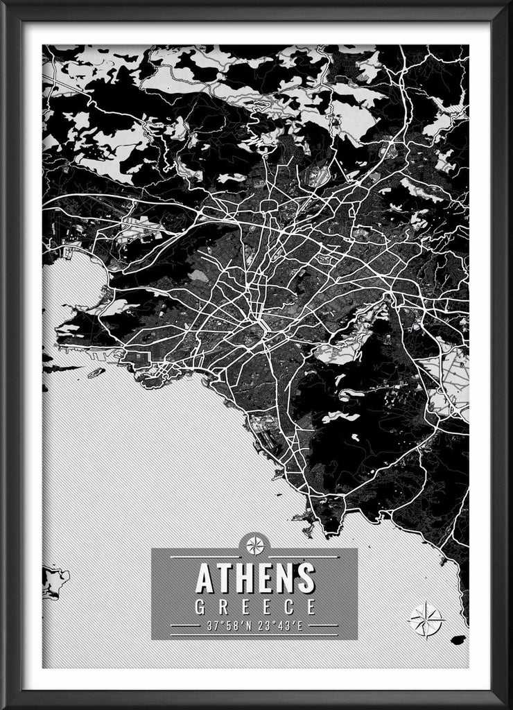 Athens Greece Map with Coordinates