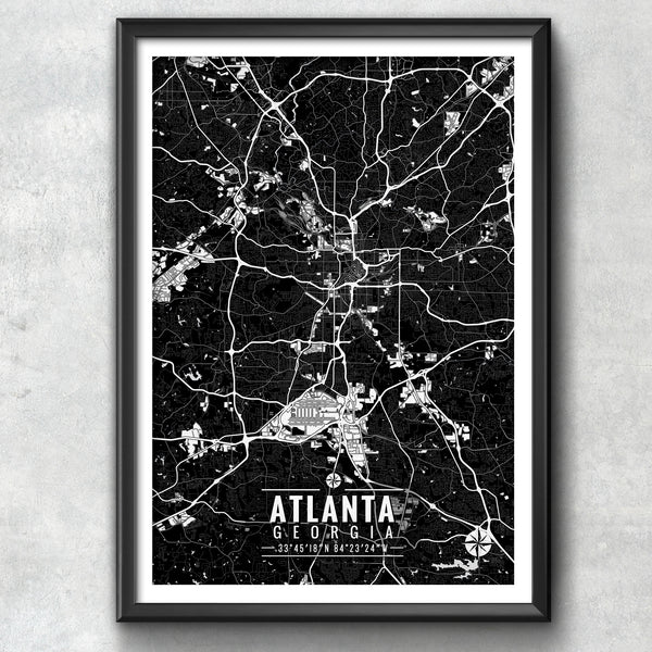 ATLANTA Georgia Map with Coordinates