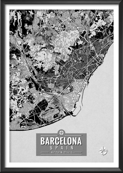 Barcelona Spain Map with Coordinates