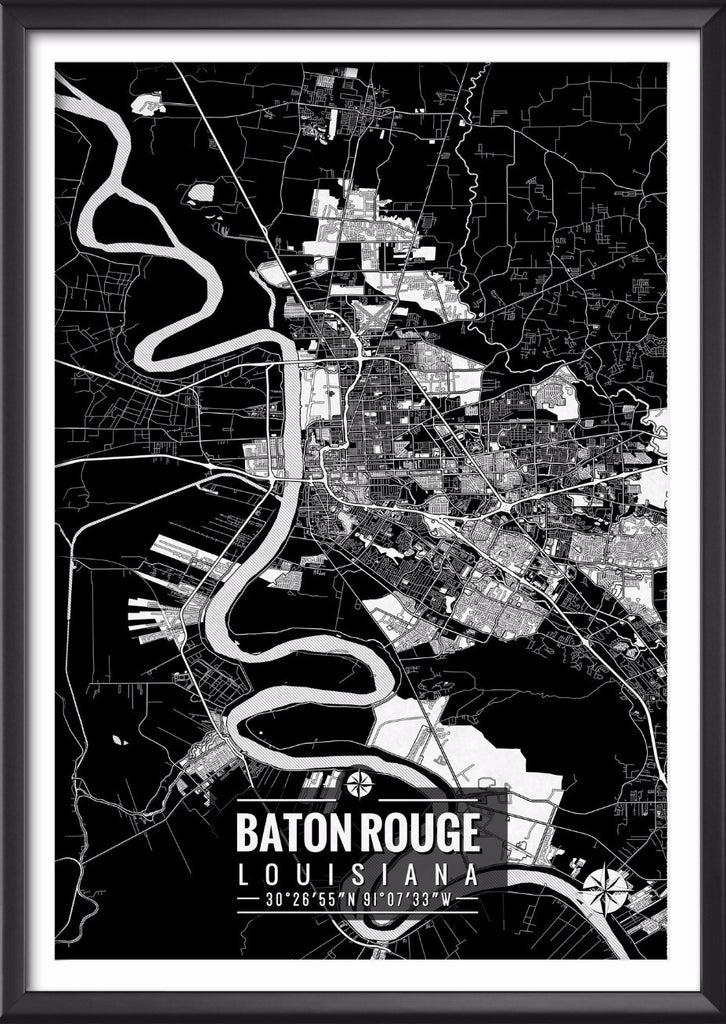 Baton Rouge Louisiana Map with Coordinates Baton