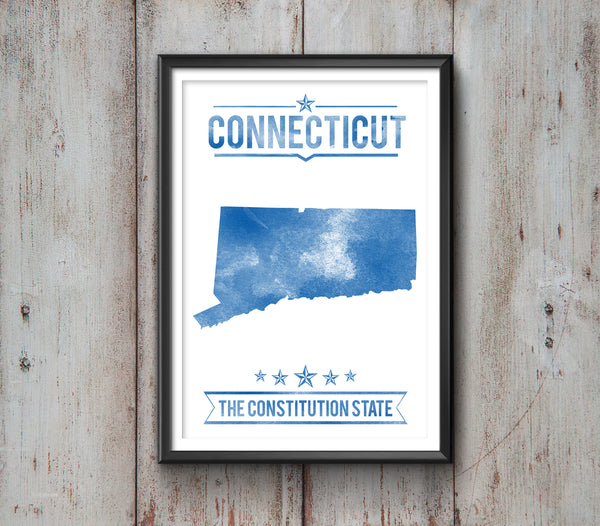 Connecticut State Typography Print