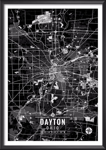 Dayton Ohio Map with Coordinates