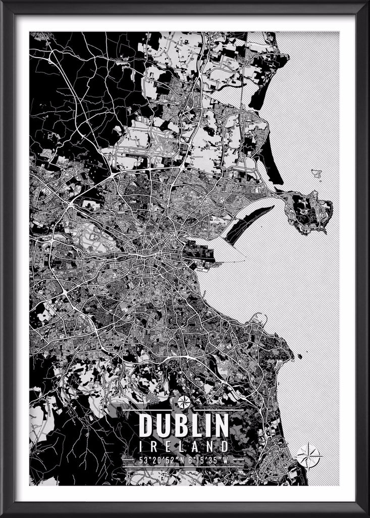 Dublin Ireland Map with Coordinates