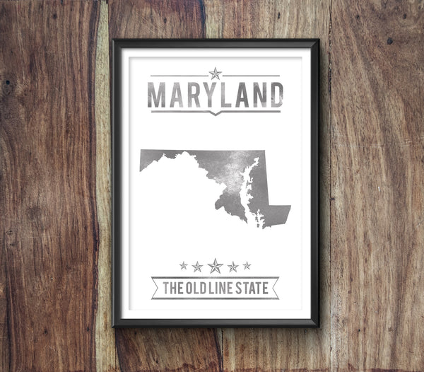 Maryland State Typography Print