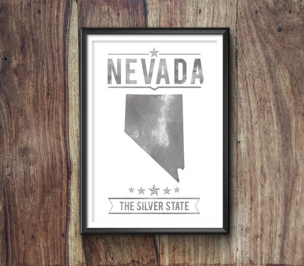 Nevada State Typography Print