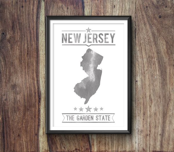 New Jersey State Typography Print