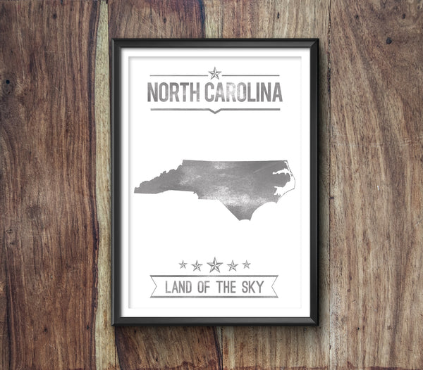 North Carolina State Typography Print