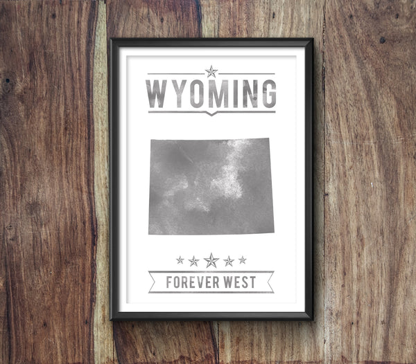 Wyoming State Typography Print