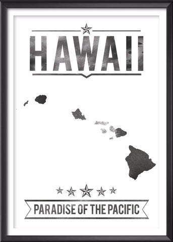 Hawaii State Typography Print
