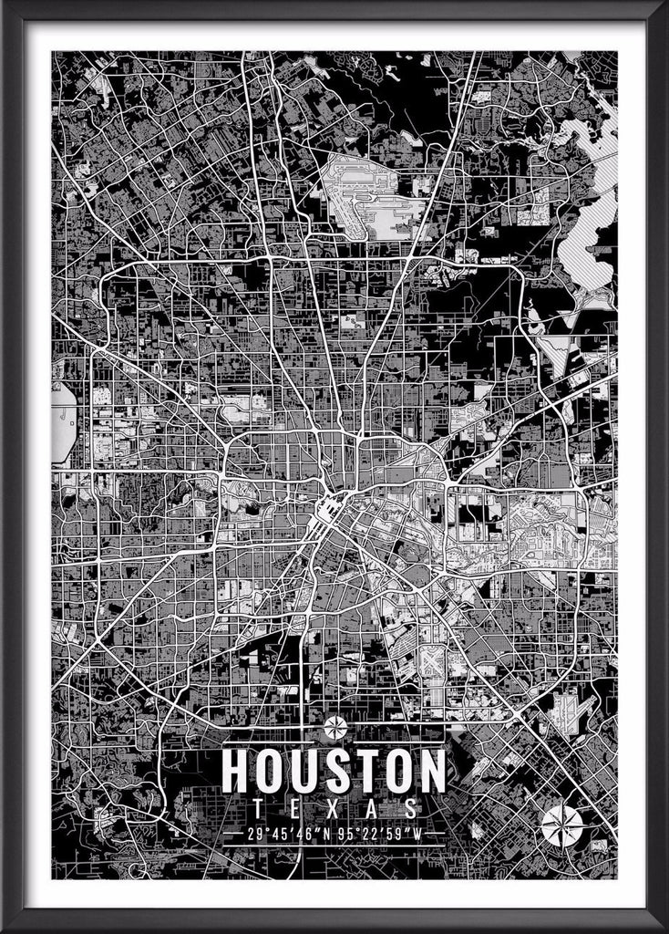 Houston Texas Map with Coordinates