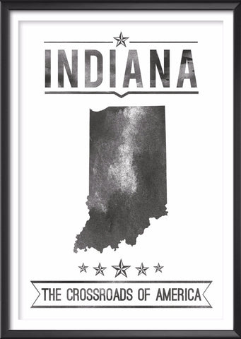 Indiana State Typography Print