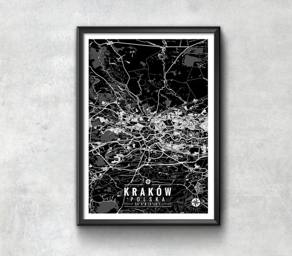 Cracow Poland Map with Coordinates