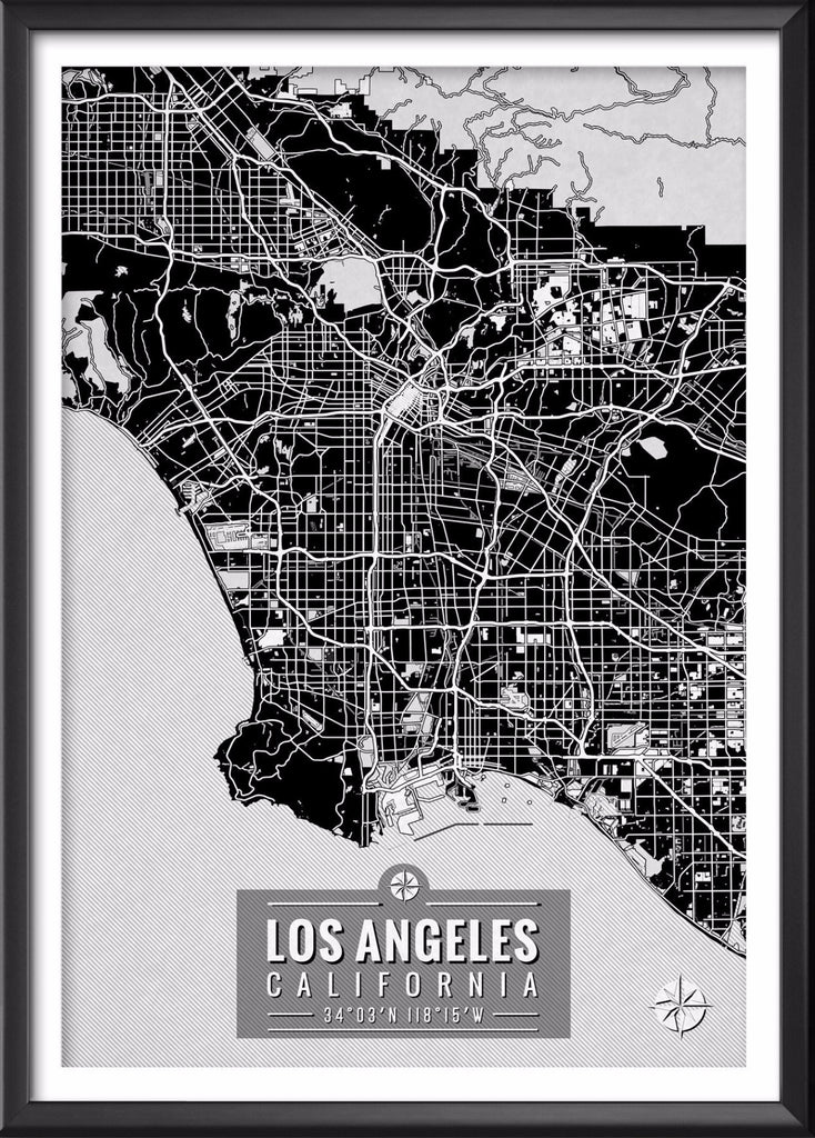 Los Angeles California Map With Coordinates Map Art Wall Art Map