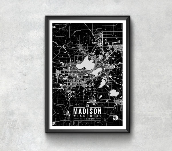 Madison Wisconsin Map with Coordinates