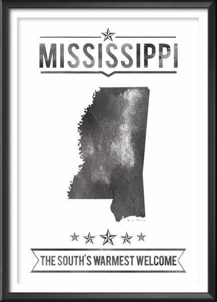 Mississippi State Typography Print