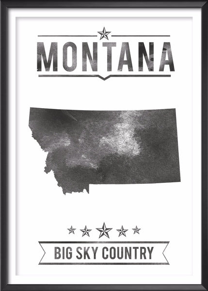 Montana State Typography Print