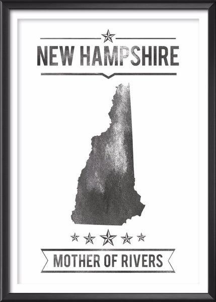 New Hampshire State Typography Print