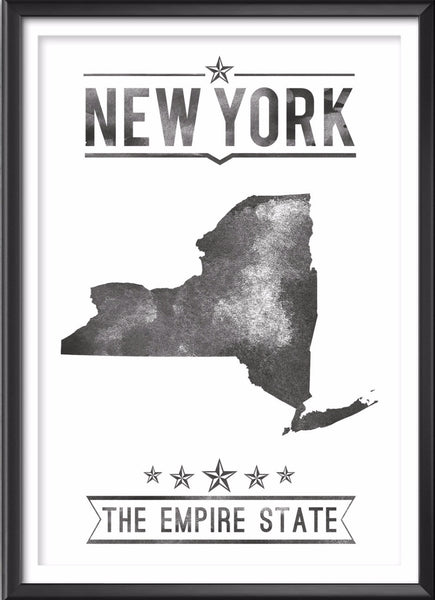 New York State Typography Print
