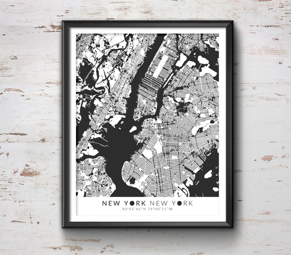 New York Map with Coordinates