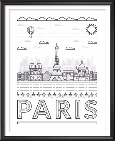 Paris France Skyline Typography Print
