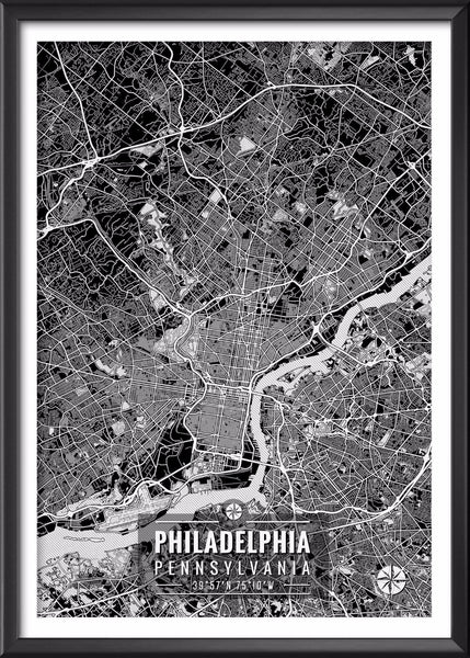 Philadelphia Pennsylvania Map with Coordinates