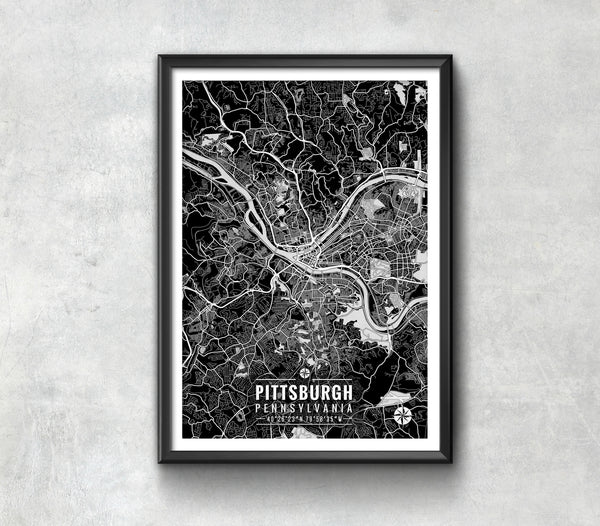Pittsburgh Pennsylvania Map with Coordinates