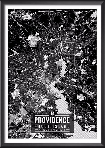 Providence Rhode Island Map with Coordinates