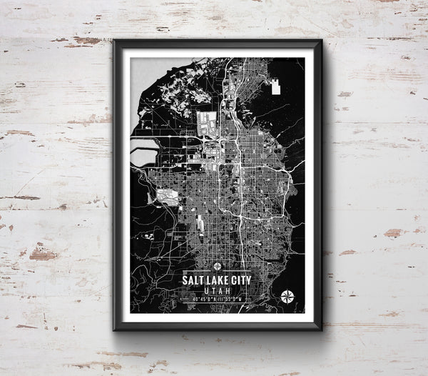 Salt Lake City Utah Map with Coordinates