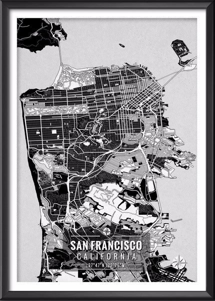 San Francisco California Map with Coordinates