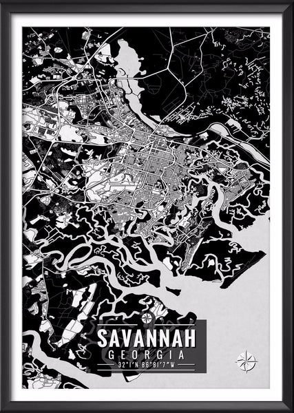 Savannah Georgia Map with Coordinates
