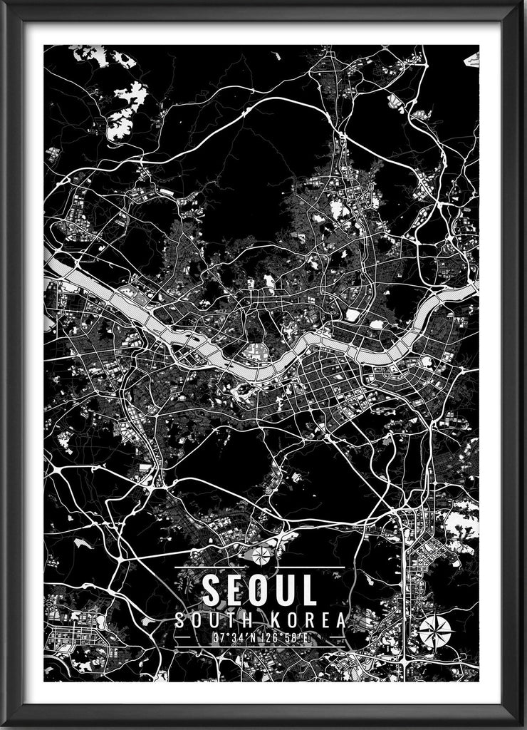 Seoul South Korea Map with Coordinates
