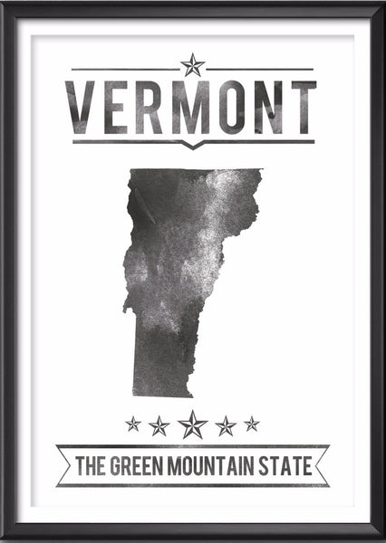 Vermont State Typography Print