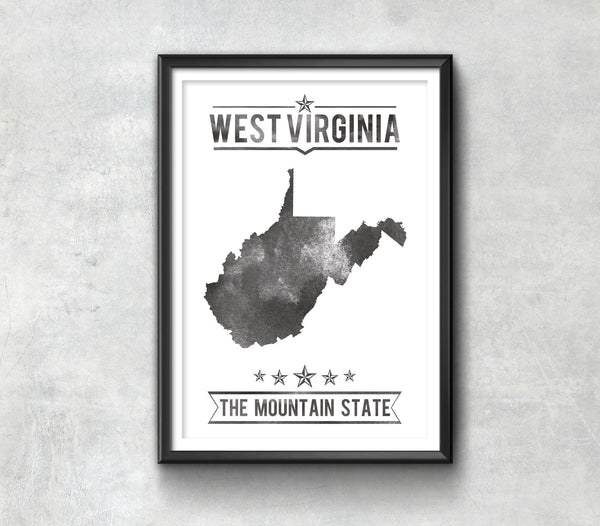 West Virginia State Typography Print