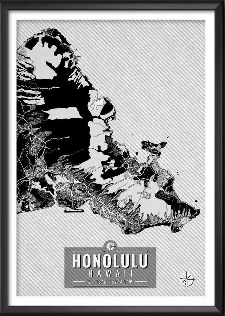 Honolulu Hawaii Map with Coordinates - Ideate Create Studio