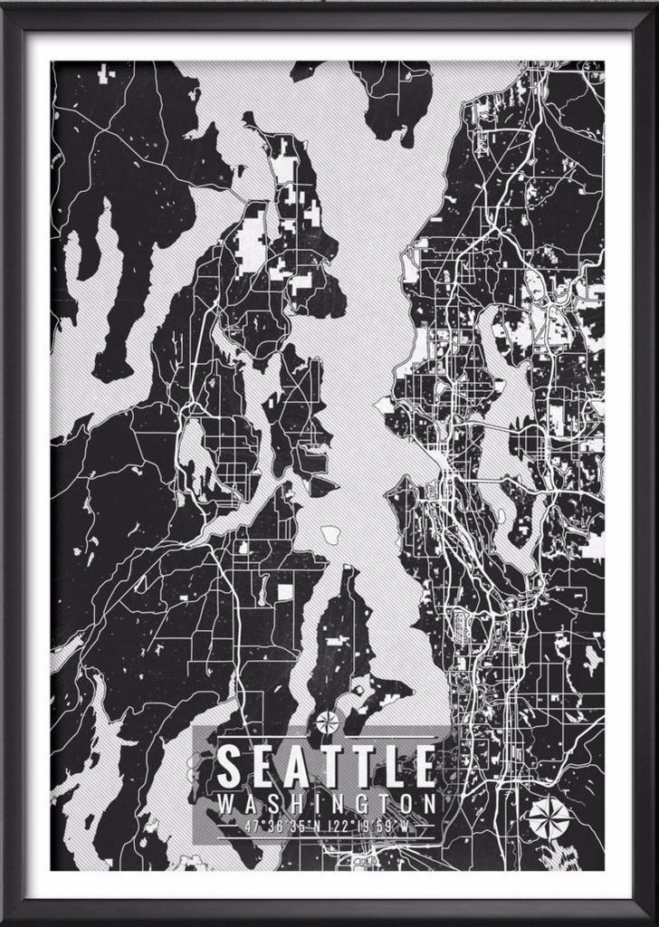 Seattle Washington Map with Coordinates - Ideate Create Studio