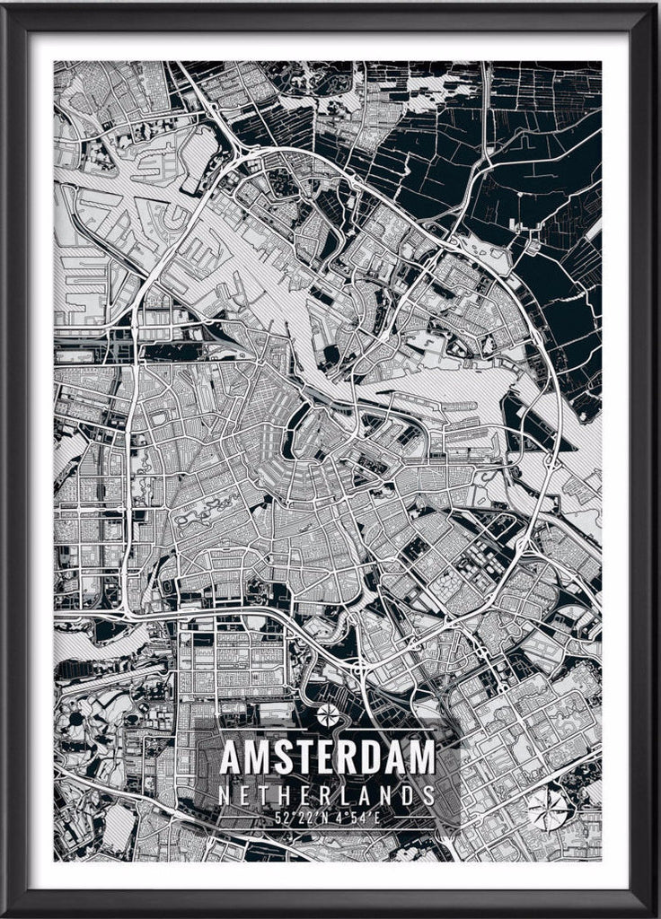 Amsterdam Netherlands Map with Coordinates