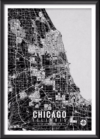 Chicago Map with Coordinates | Ideate Create Studio - Ideate Create Studio